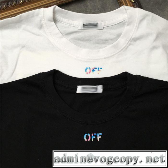 Off-Whiteグッと大人っぽい印象に オフホワイト Tシャツ/半袖 2色可選 2019春夏人気トレンドアイテム