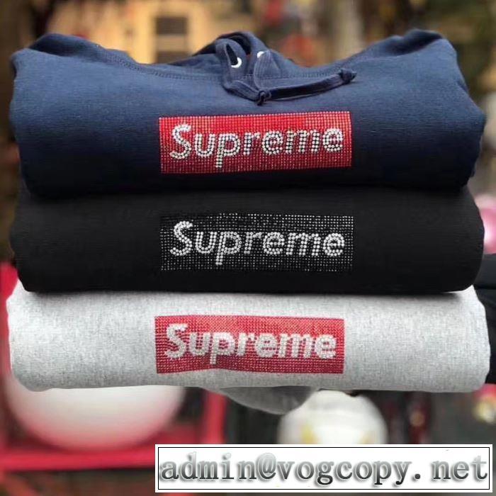 春夏!大人カジュアル Supreme Swarovski Box Logo Hoodie大人っぽいファション感 4色可選 パーカー