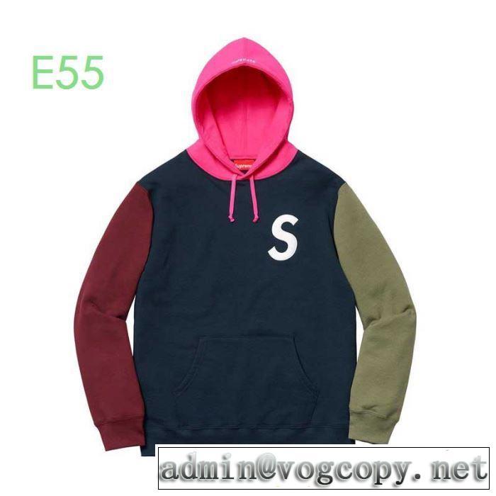 Supreme 19aw S Logo Colorblocked Hooded Sweatshirt  3色可選おしゃれ感度が高い秋冬トレンド  パーカー