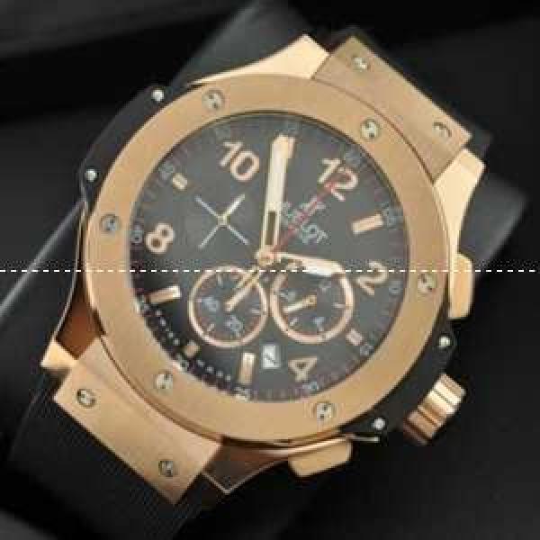 低価格 ウブロコピー 日本製クオーツ 6針 ゴールド 注目度の高い45MMメンズ腕時計