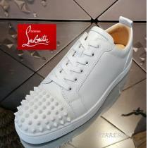 ★定番商品★ルブタンコピー Louis Junior Spikes Calf ホワイトスニーカー2021流行りファッションストリート靴